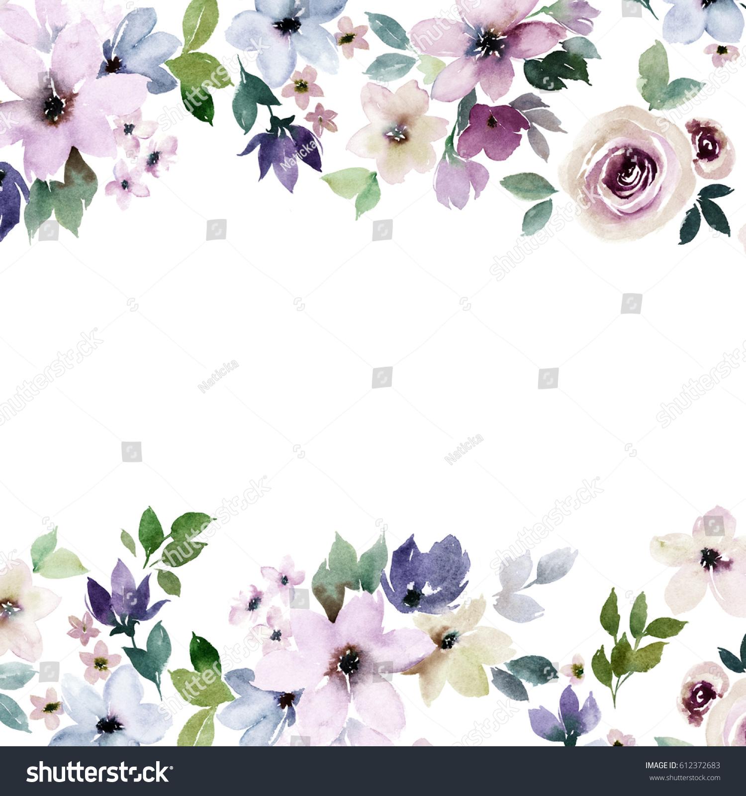 Watercolor Floral Border Design Colorful Template Stock Illustration ...