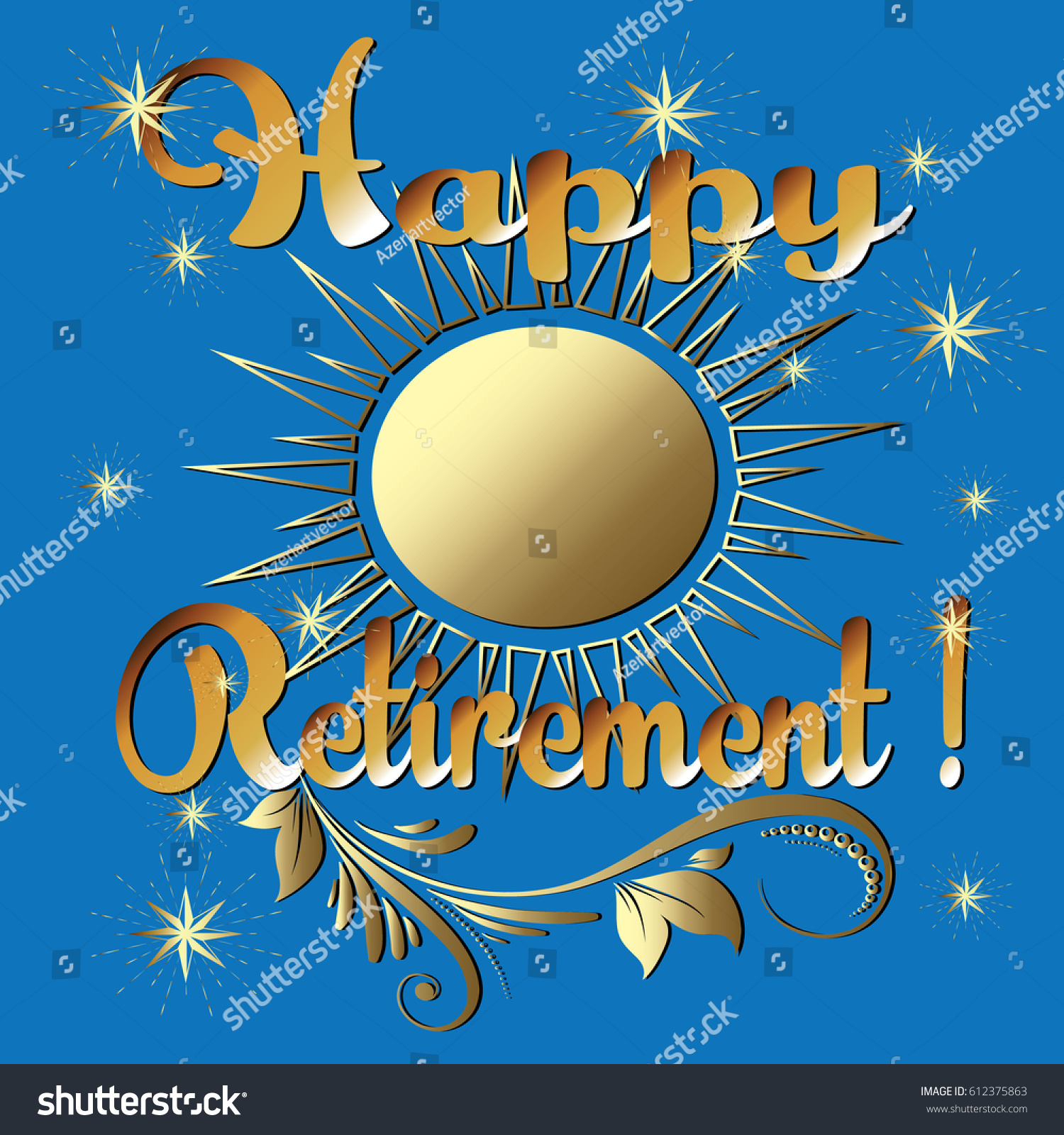 Happy Retirement Gold 3 D Lettering Greeting Stock Vector Royalty