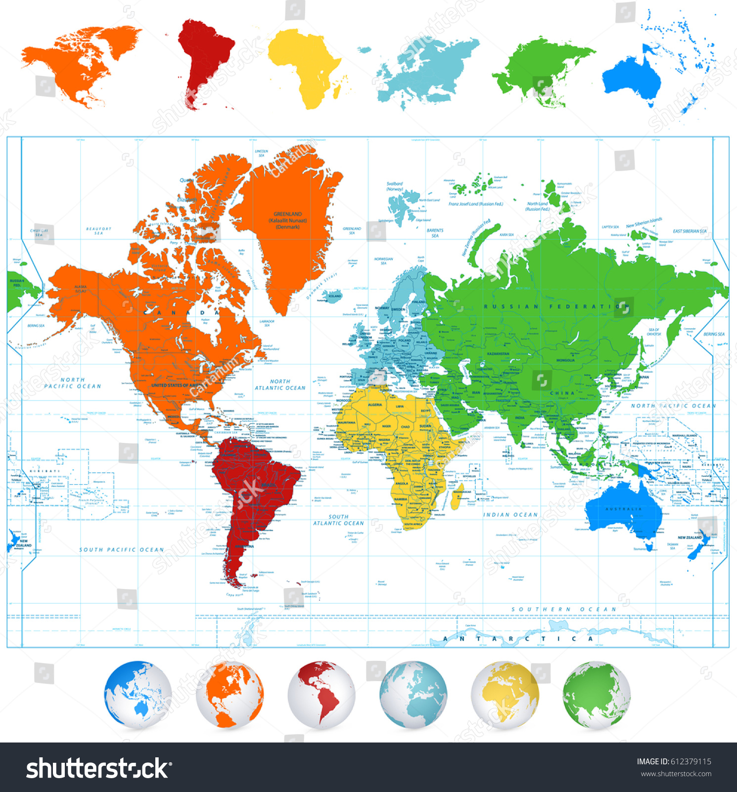 Detailed Vector World Map Colorful Continents Stock Vector