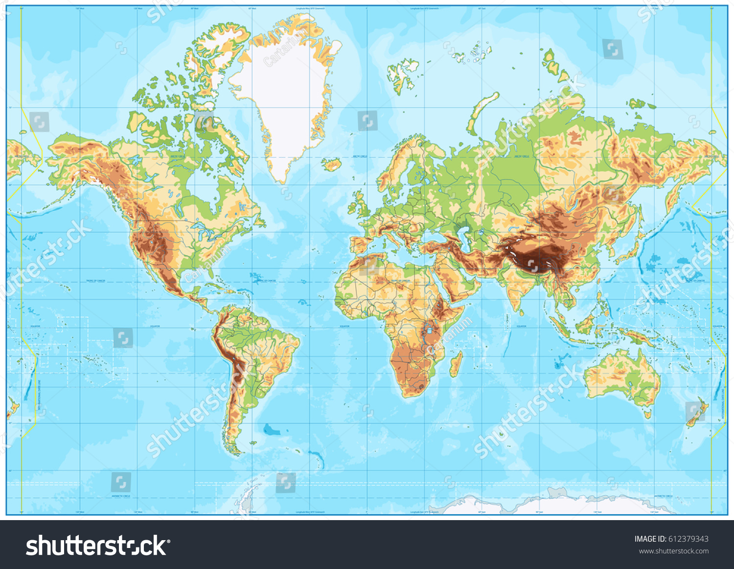 Blank physical world map bathymetry vector vectores en stock blank physical world map and bathymetry vector illustration gumiabroncs Image collections