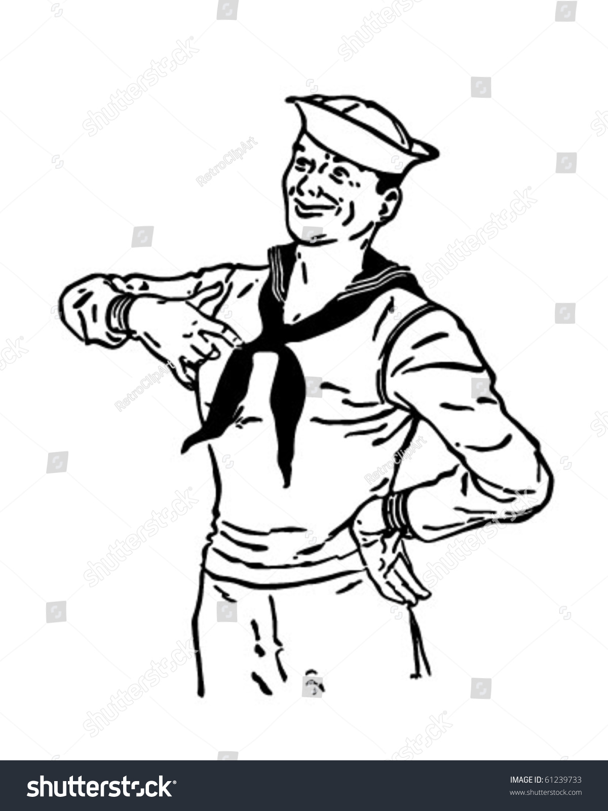 Proud Sailor Retro Clip Art Stock Vector 61239733 - Shutterstock