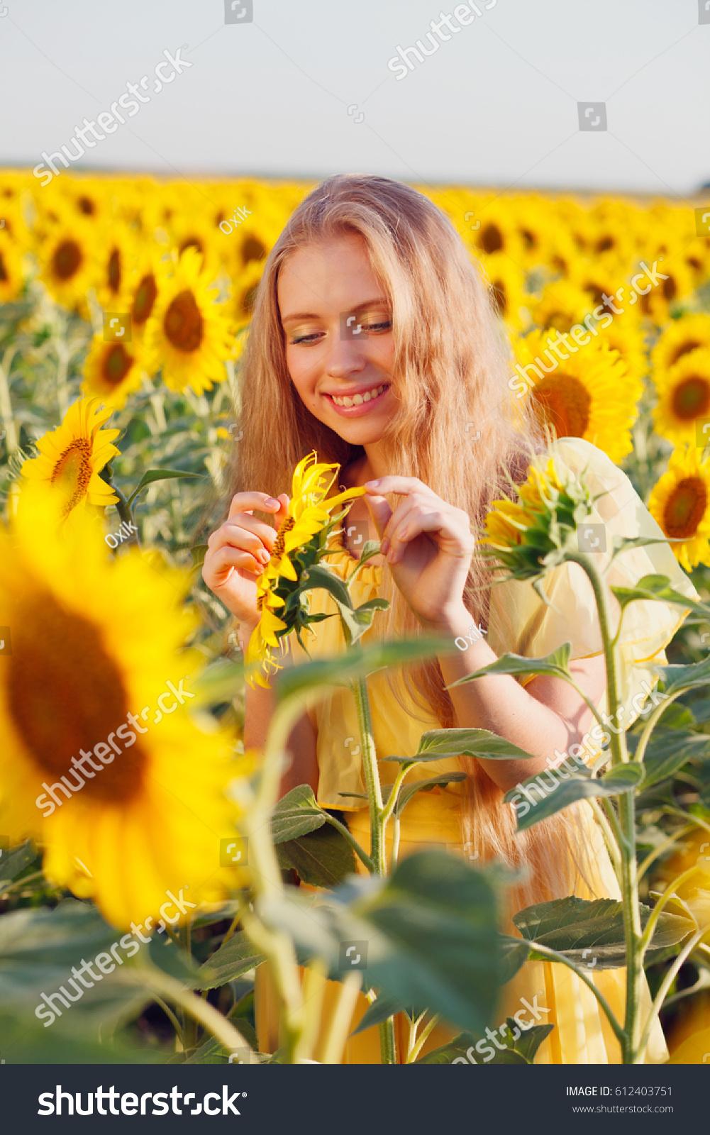 Blonde Girl Sunflower Yellow Dress Sunflower Stock Photo Edit Now