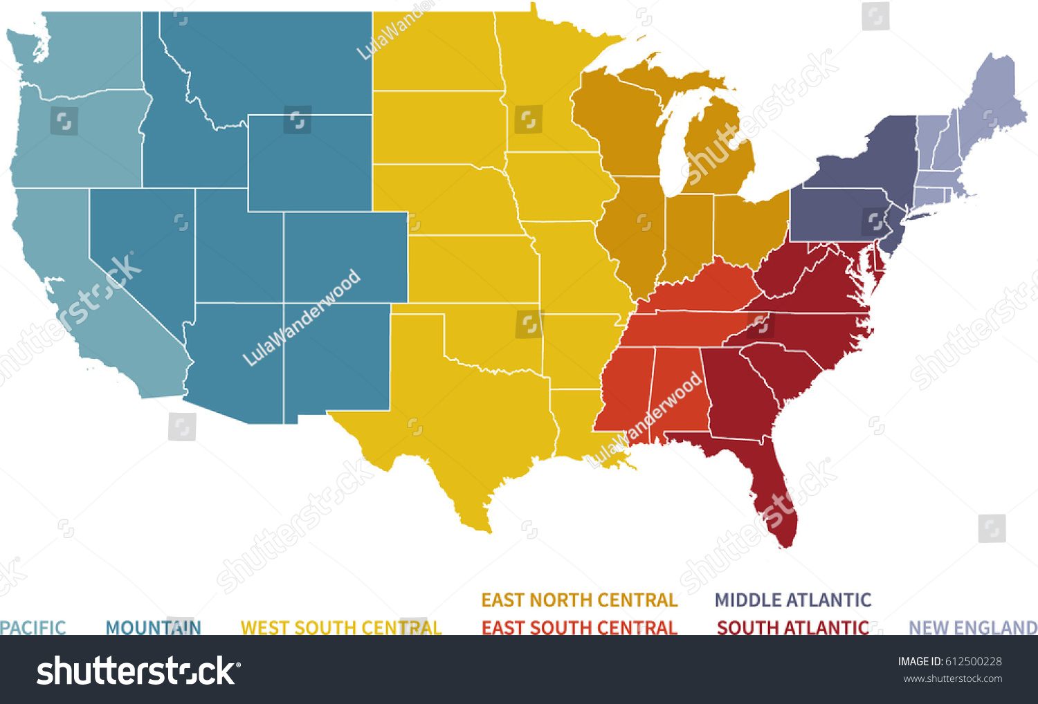 Colorful Regional Map United States Stock Vector (Royalty Free ...