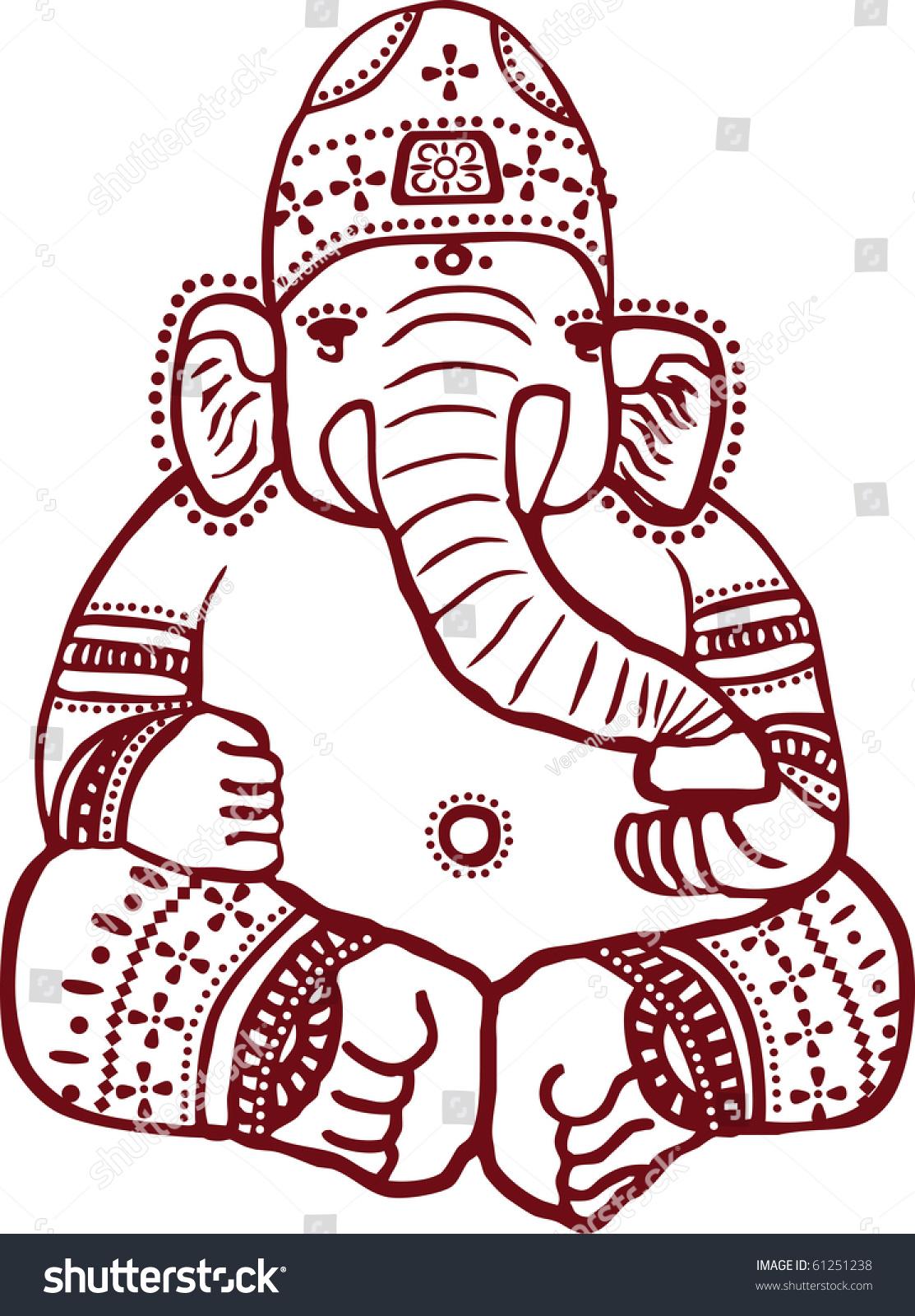 Traditional Indian Henna Design Of The Hindu Elephant God Ganesha