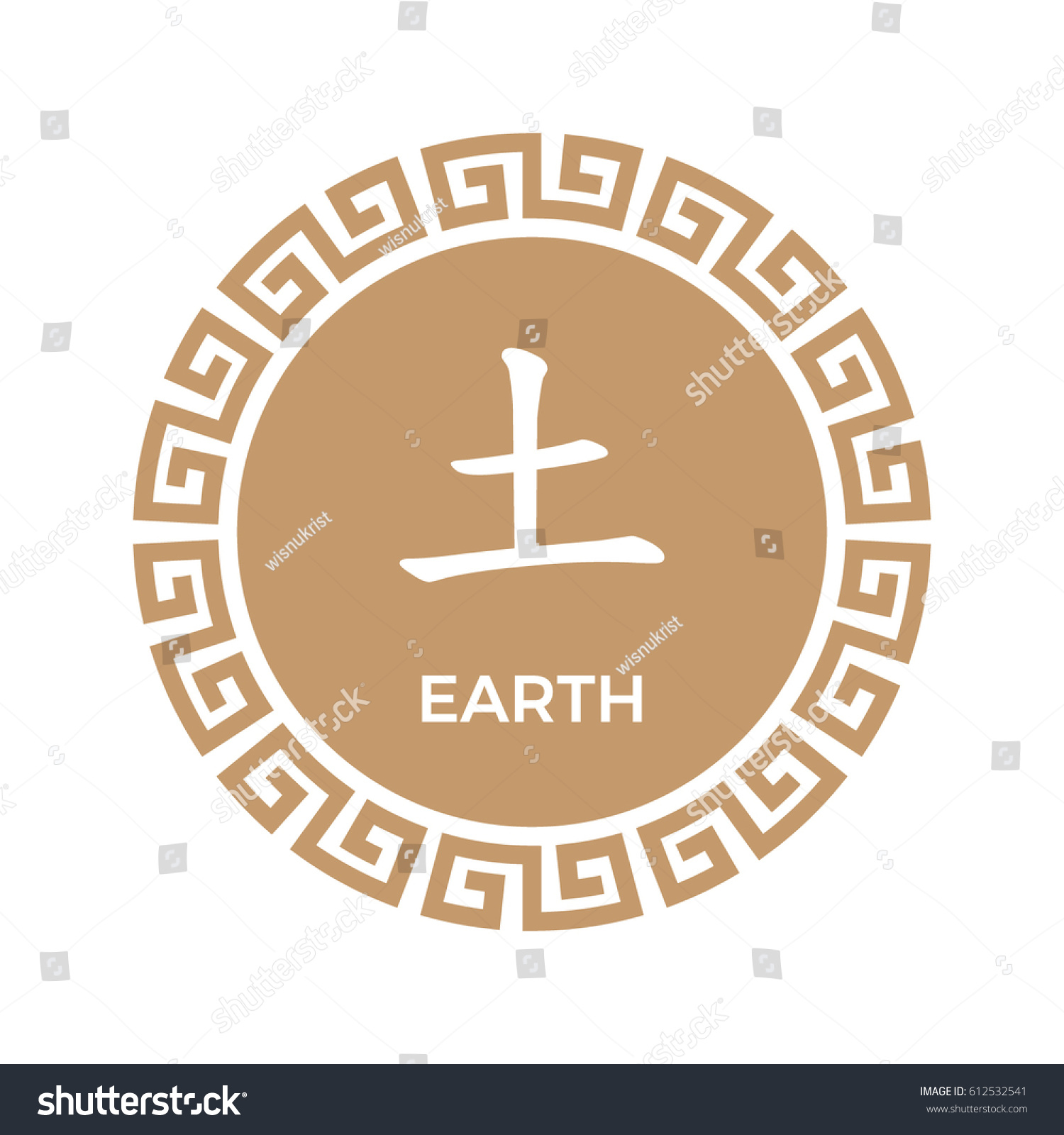 Earth Element Symbol Chinese Border Stock Vector Royalty Free