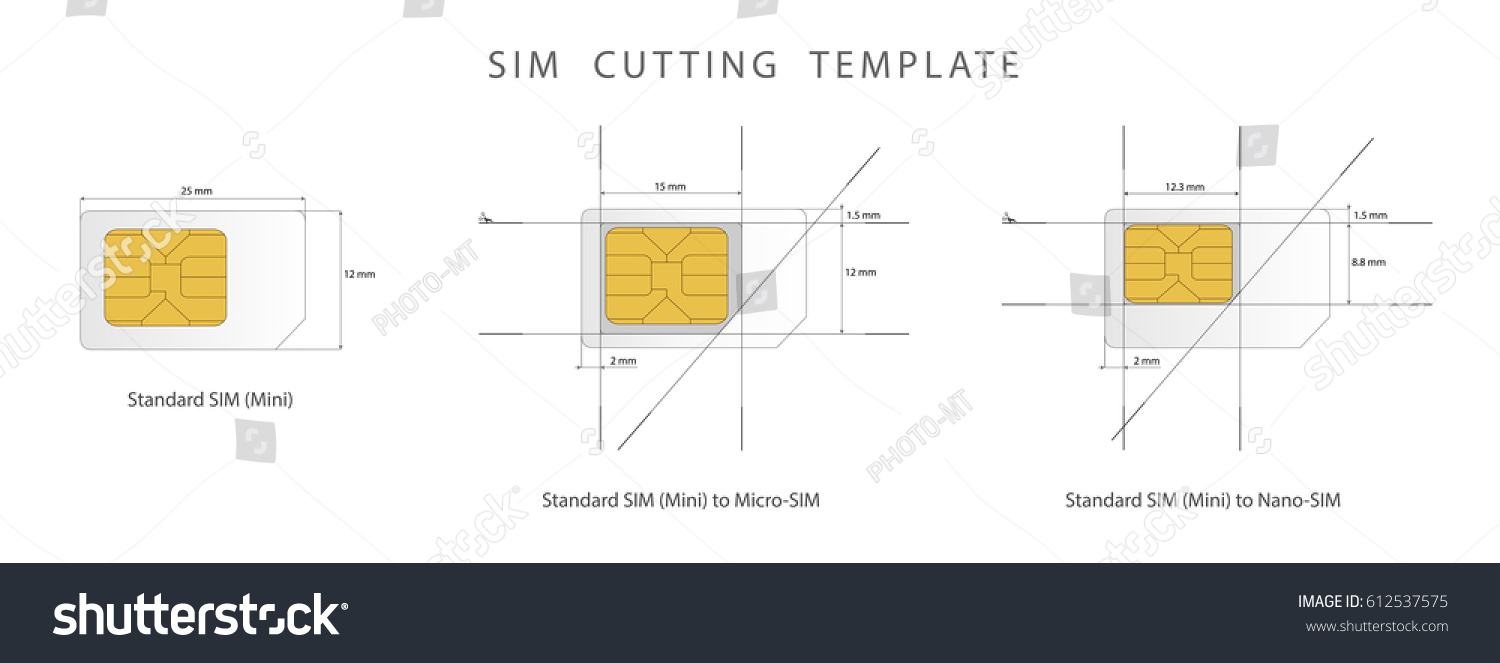 SIM Card Cutting Template. Standard, Micro And Nano SIM Card. Vector  Illustration
