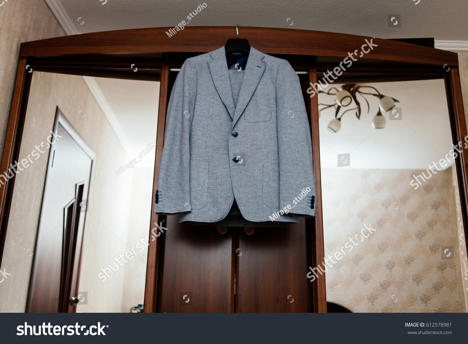 Beautiful Gray Grooms Suit Hanging On Stock Photo (Royalty Free ...