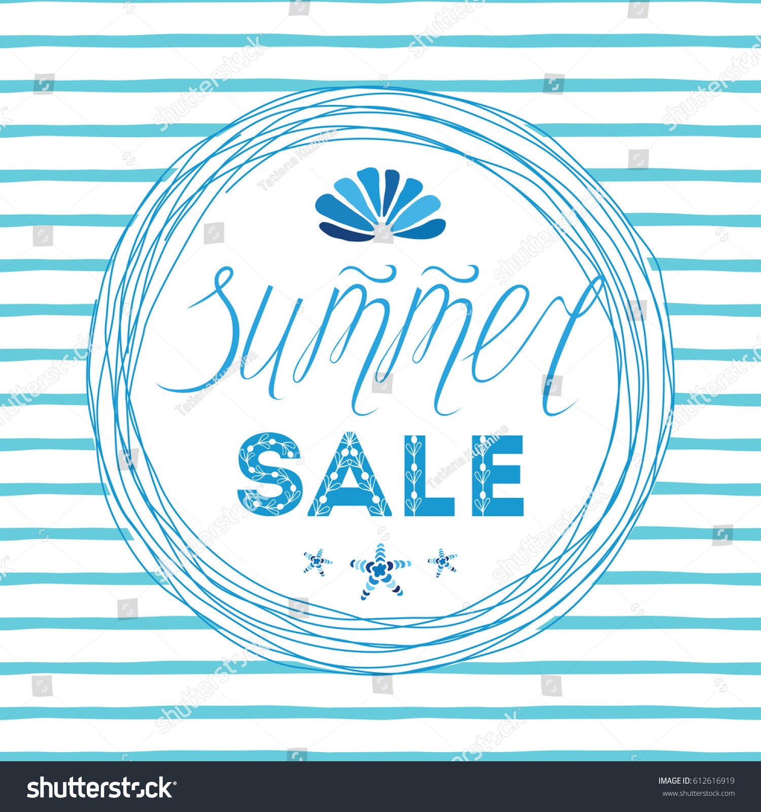 Vector summer sales hand drawn template stock vector 612616919 vector summer sales hand drawn template made on blue ocean colors with calligraphy text hand pronofoot35fo Choice Image