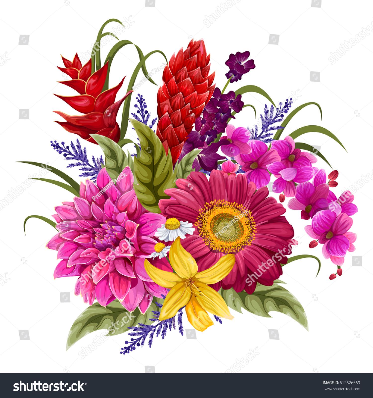 Vector Design Colorful Vintage Flower Bouquet Stock Vector 612626669 ...
