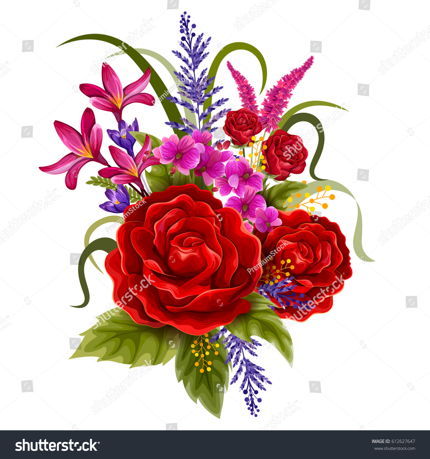 Vector Design Colorful Vintage Flower Bouquet Stock Vector Royalty