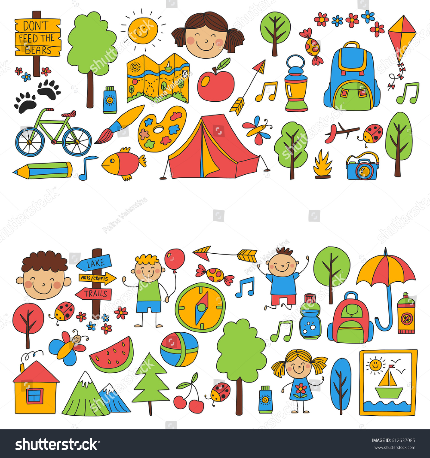 Summer camp children kids camping children stock vector for Fishing camps for kids