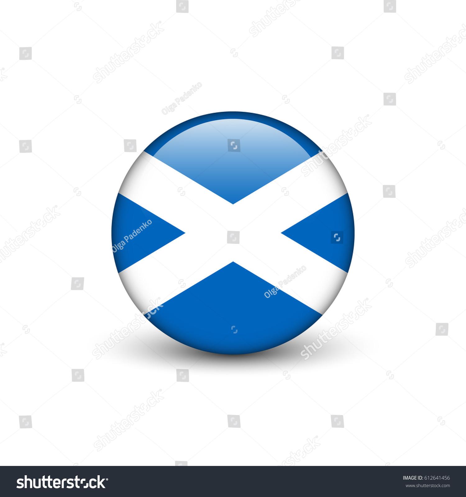 st andrews cross flag scotland round stock vector 612641456