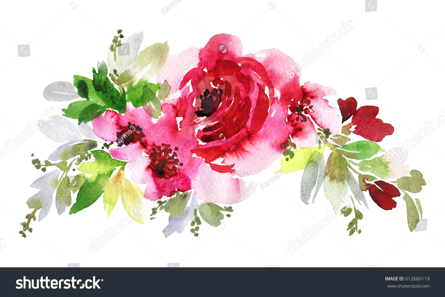 Bouquet of pink watercolor flowers with delicate foliage on a white ...