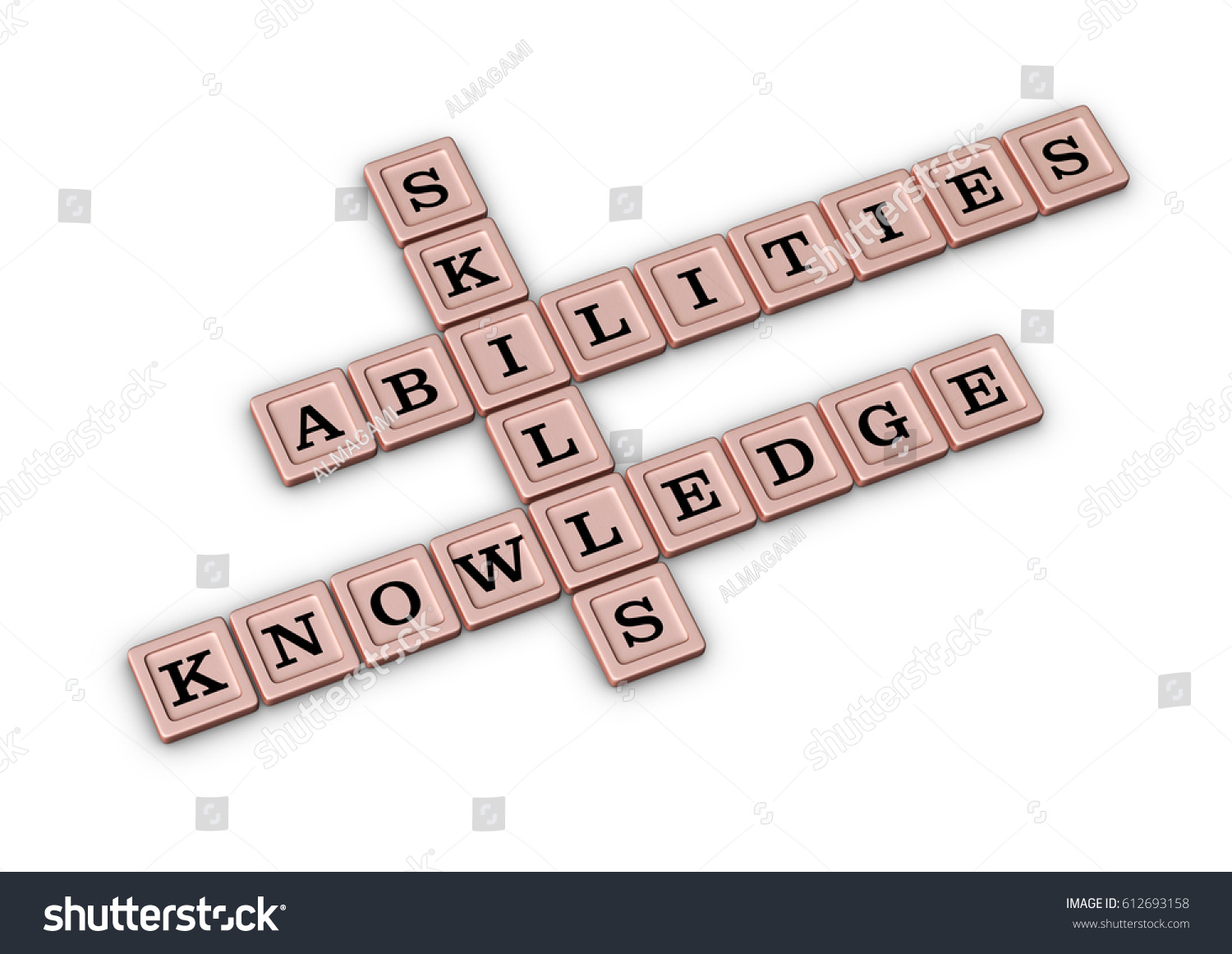 skills knowledge abilities crossword puzzle qualities stock skills knowledge and abilities crossword puzzle qualities for job candidates 3d illustration rose