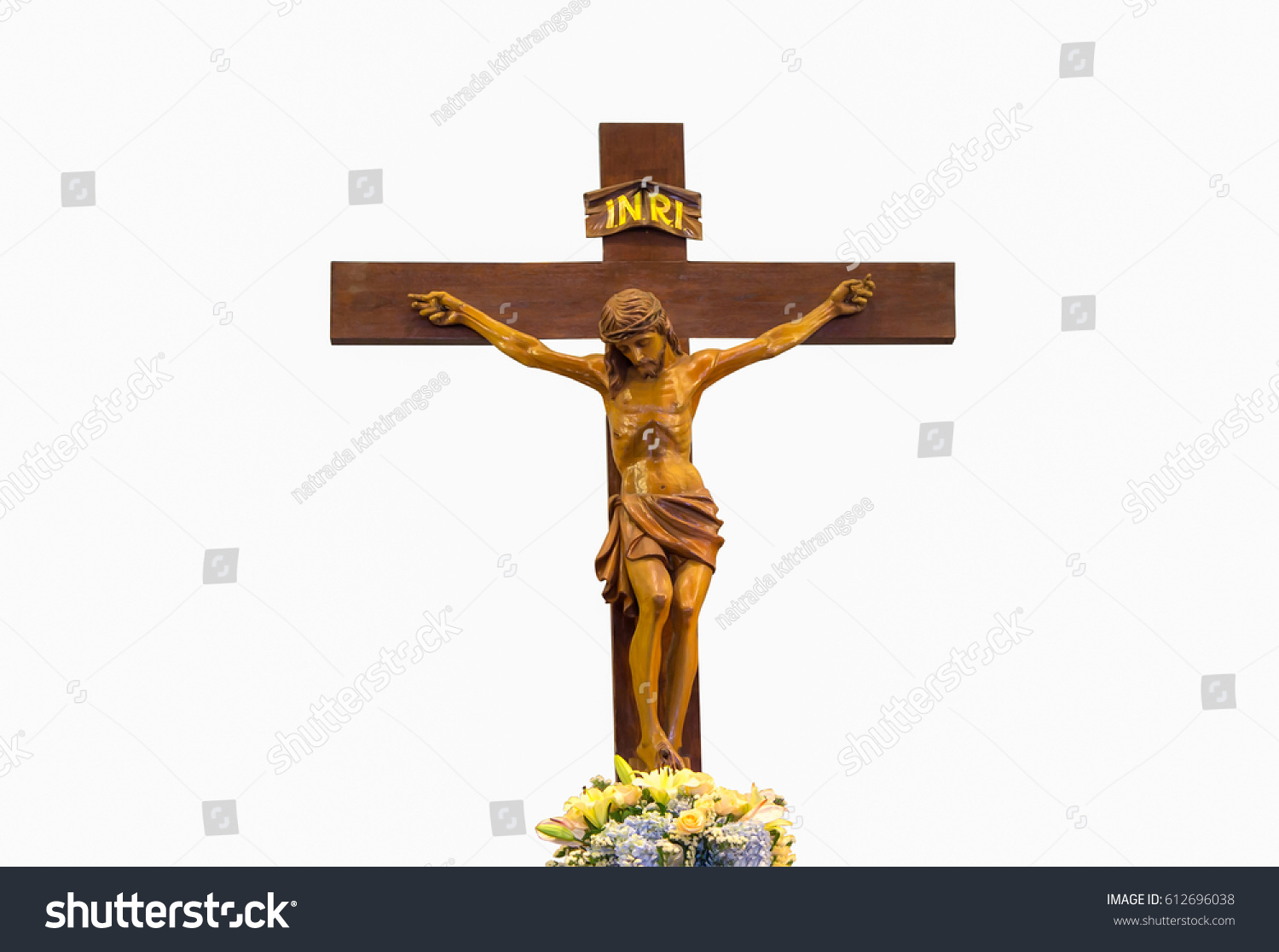 carved wooden cross inscription on cross stock photo 612696038