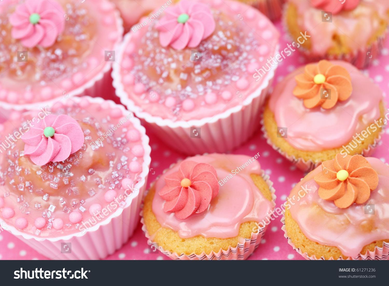 Birthday Cakes On Pink Background Stock Photo 61271236