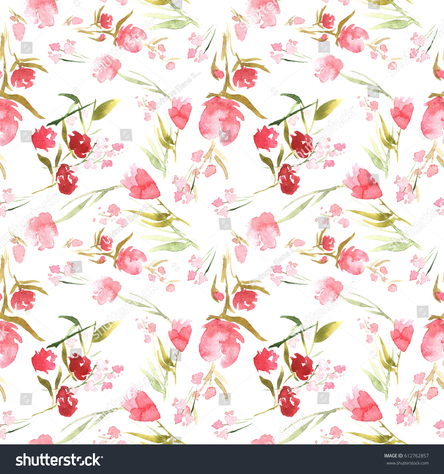 Seamless Pattern Spring Flowers Can Be Stock Illustration 612762857