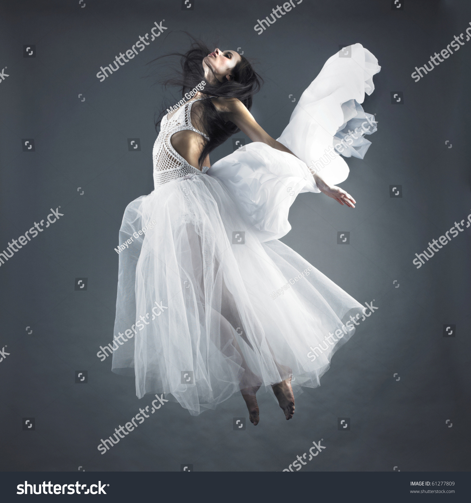 Picture A Beautiful Fairy Flying Girl In White Dress Stock ...
