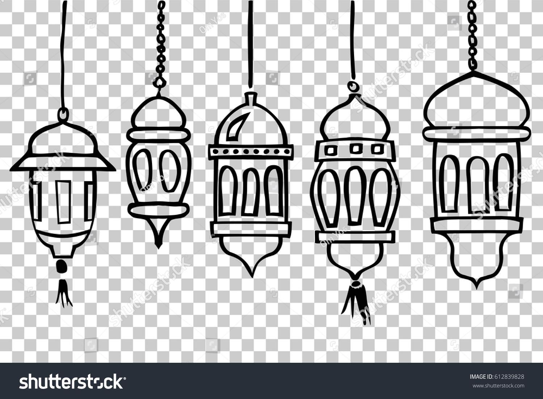 Five Model Of Lantern At Transparent Effect Background