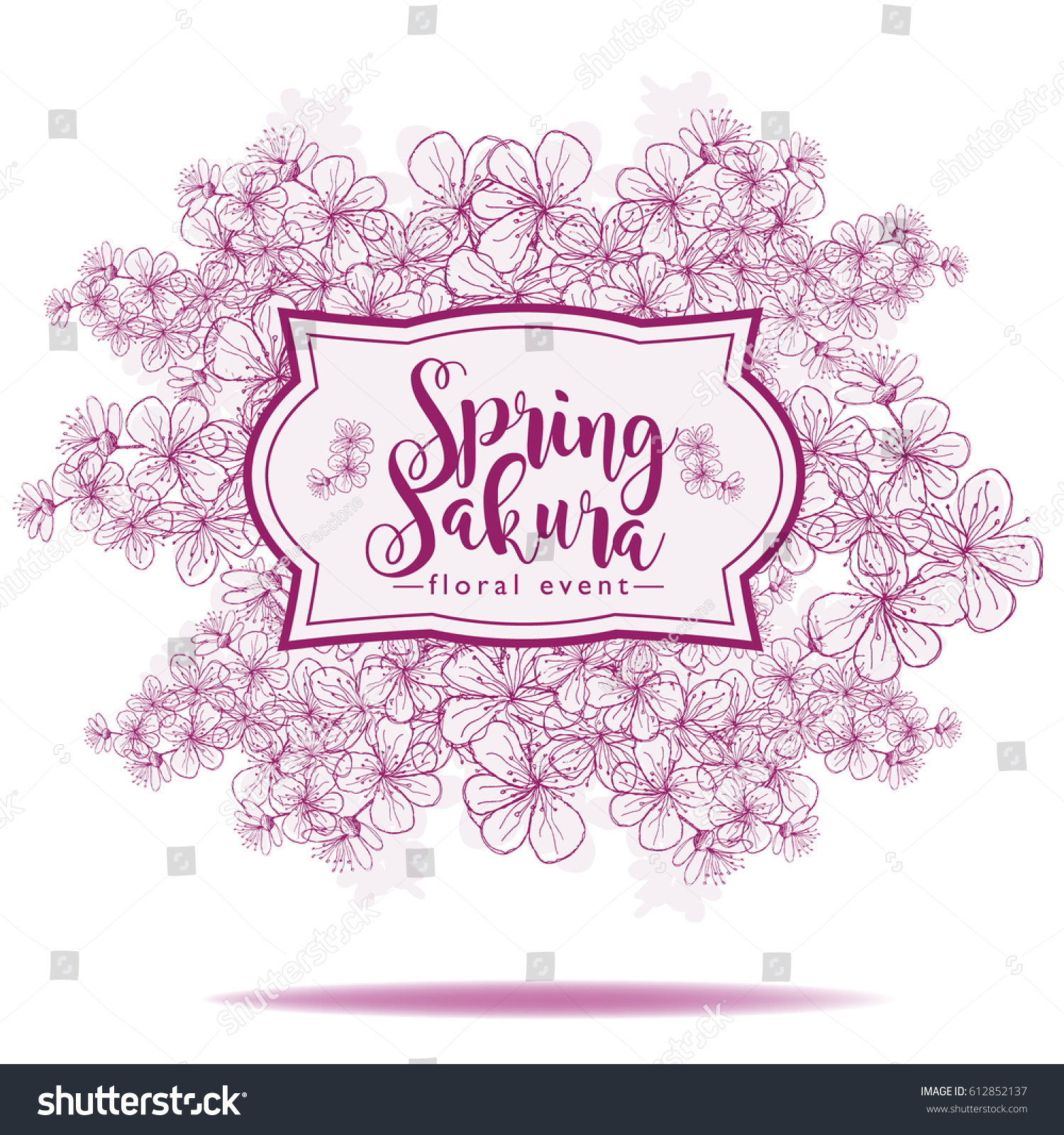 Hand Drawn Sakura Cherry Blossoms Spring Stock Illustration ...