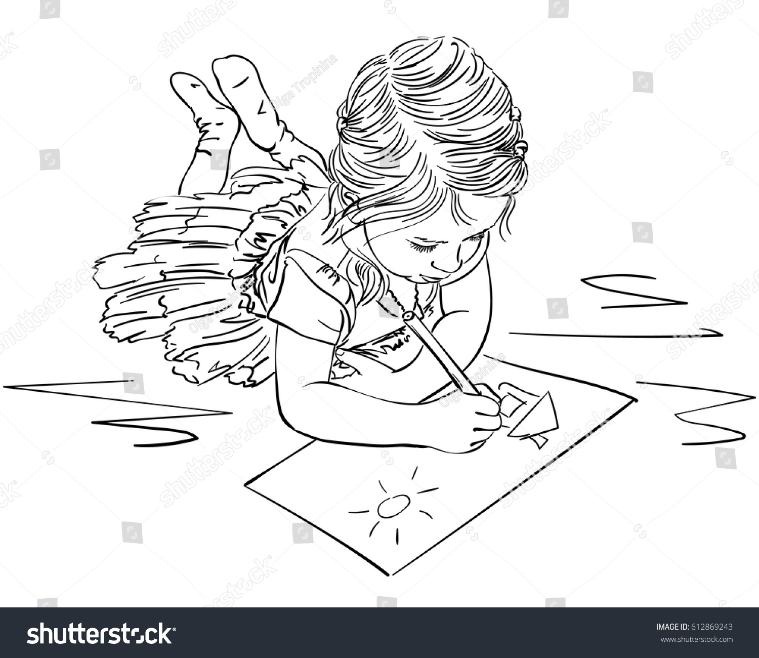 Line Drawing Newspaper : Child drawing house sun on paper stock vector