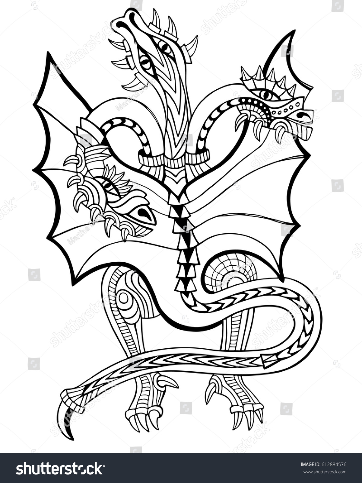 Threeheaded Dragon Coloring Book Hand Drawn Stock Vector 612884576 ...