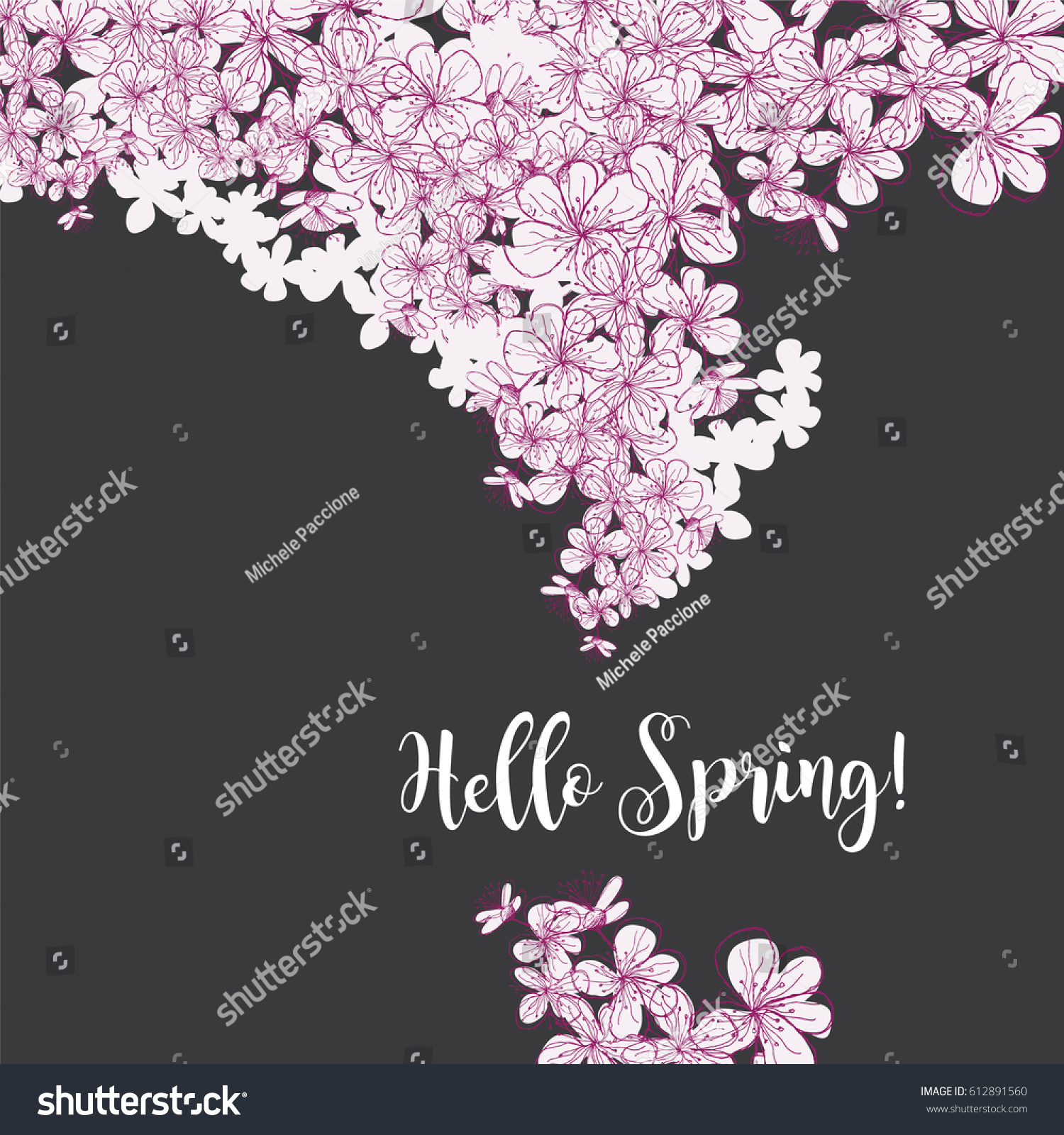 Hand Drawn Sakura Cherry Blossoms Hello Stock Vector 612891560 ...