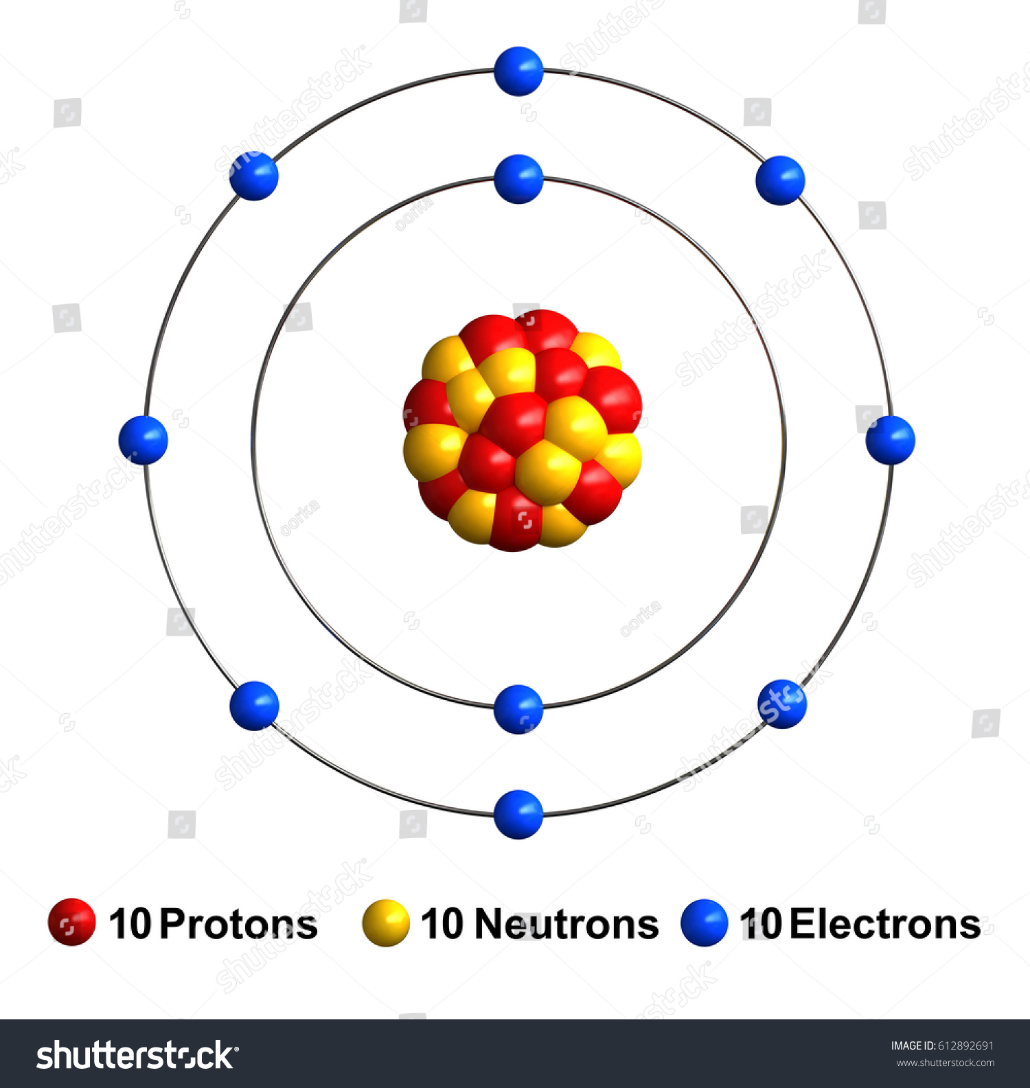 3 d render atom structure neon isolated stock illustration 612892691 3d render of atom structure of neon isolated over white background protons are represented as red ccuart Gallery