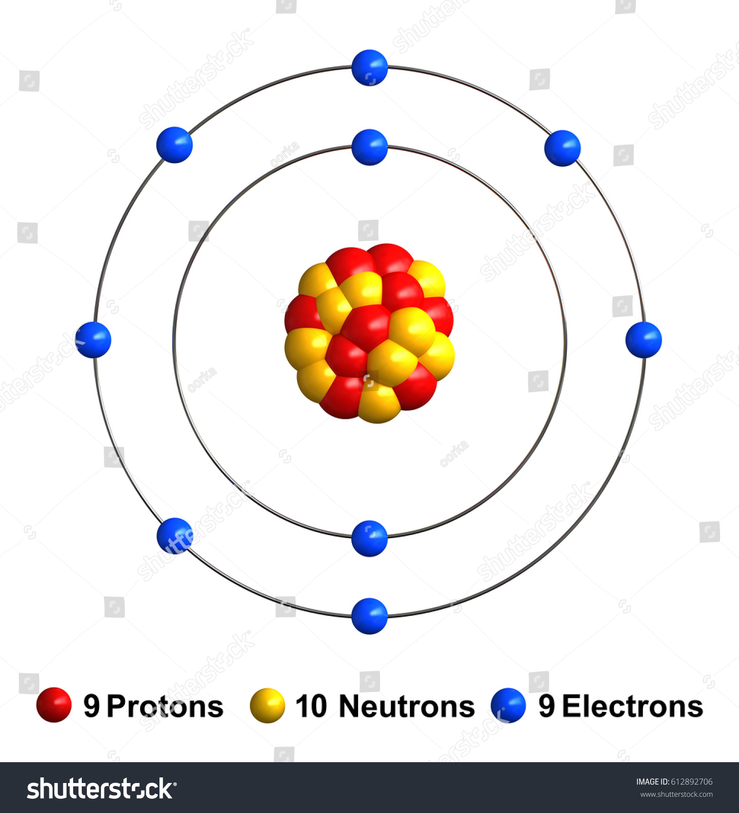 3 d render atom structure fluorine isolated stock illustration 3d render of atom structure of fluorine isolated over white background protons are represented as red ccuart Image collections