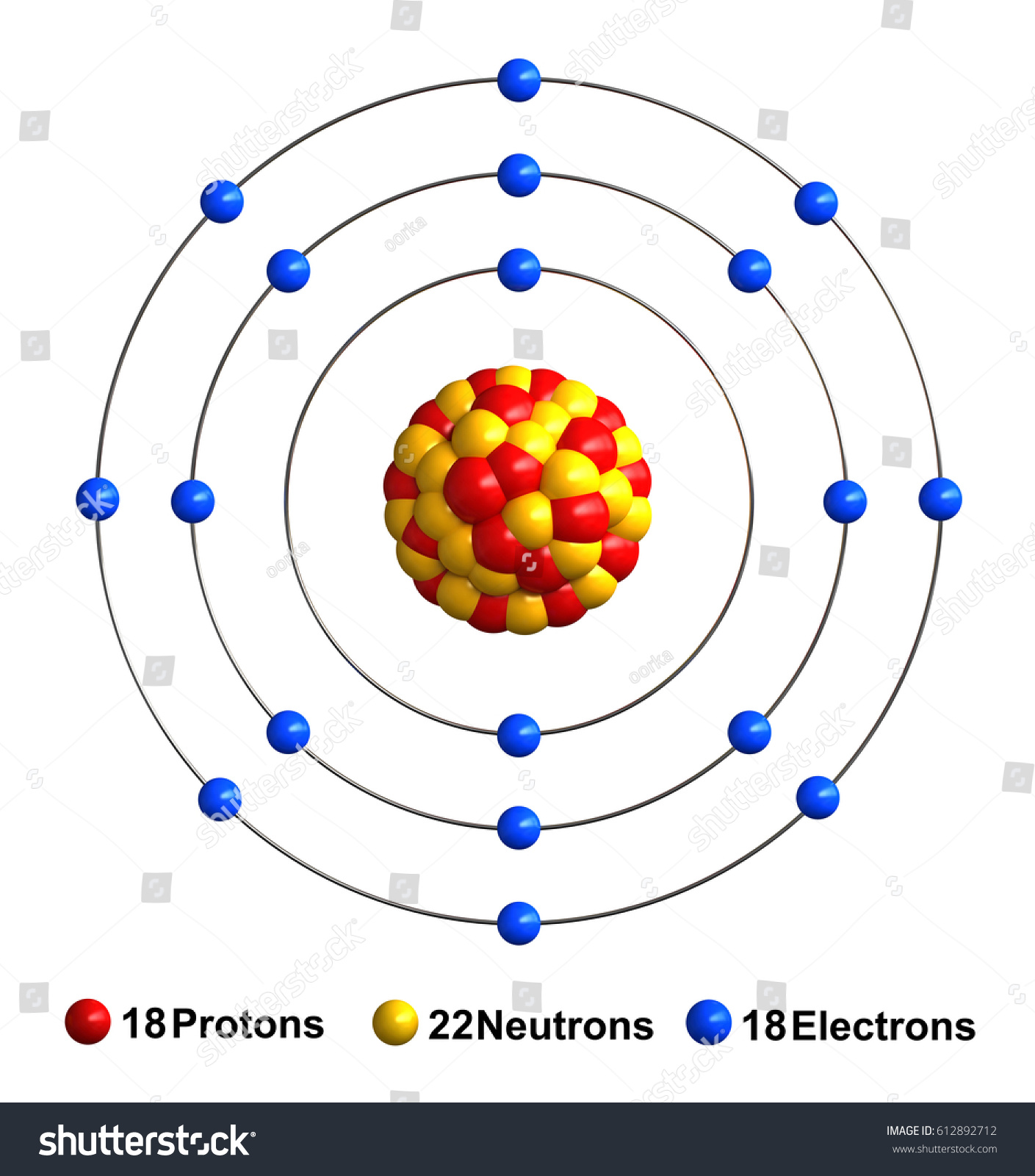 3 d render atom structure argon isolated stock illustration 3d render of atom structure of argon isolated over white background protons are represented as red ccuart Image collections