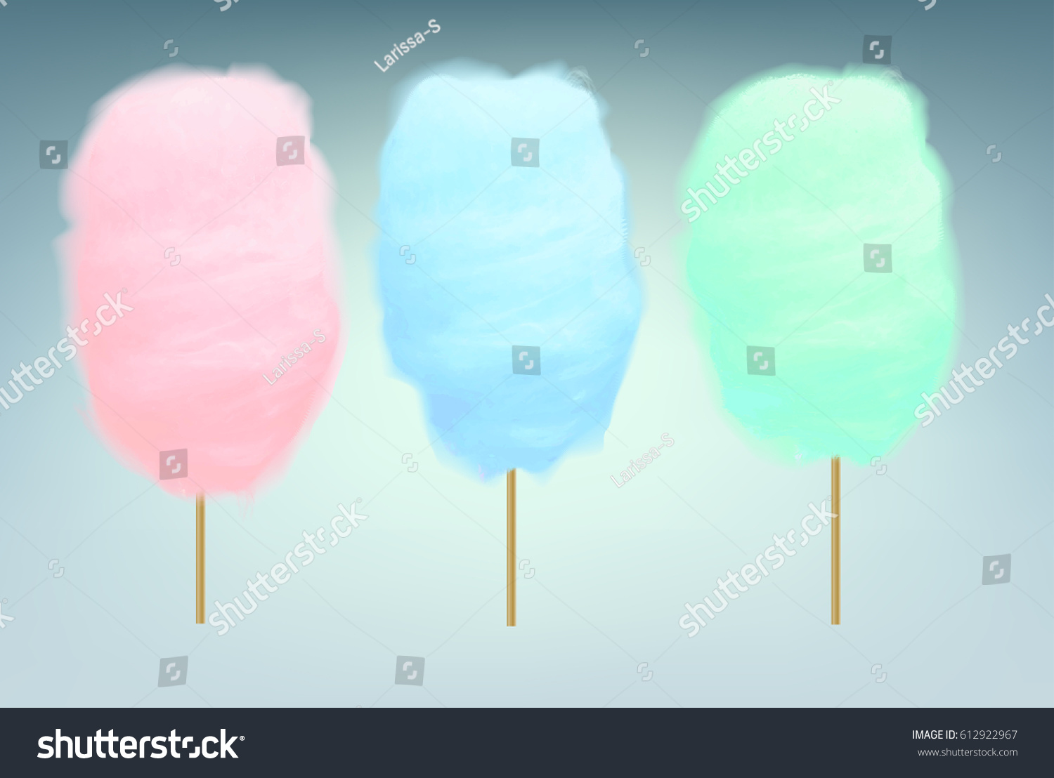 Pink, blue and green cotton candy. Realistic sugar clouds with wooden sticks. Vector isolated objects illustration.