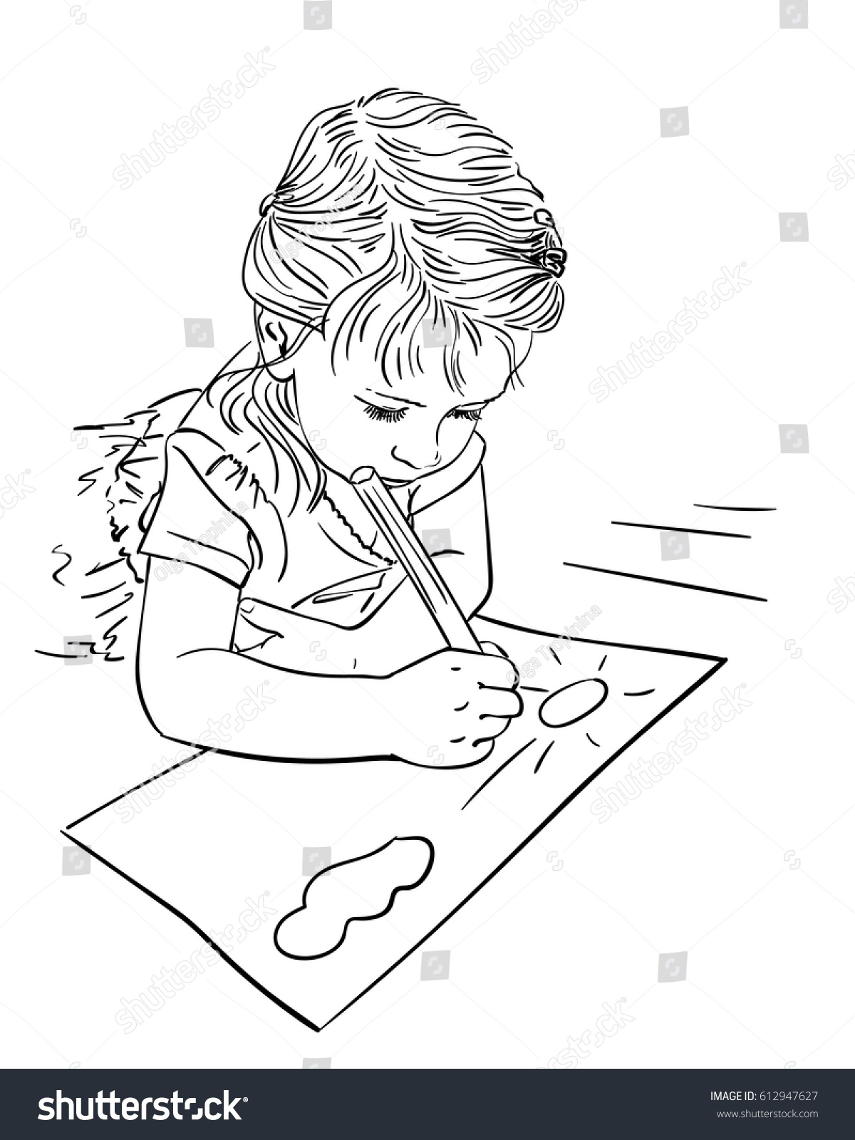 Line Art Floors : Child drawing cloud sun on paper stock vector