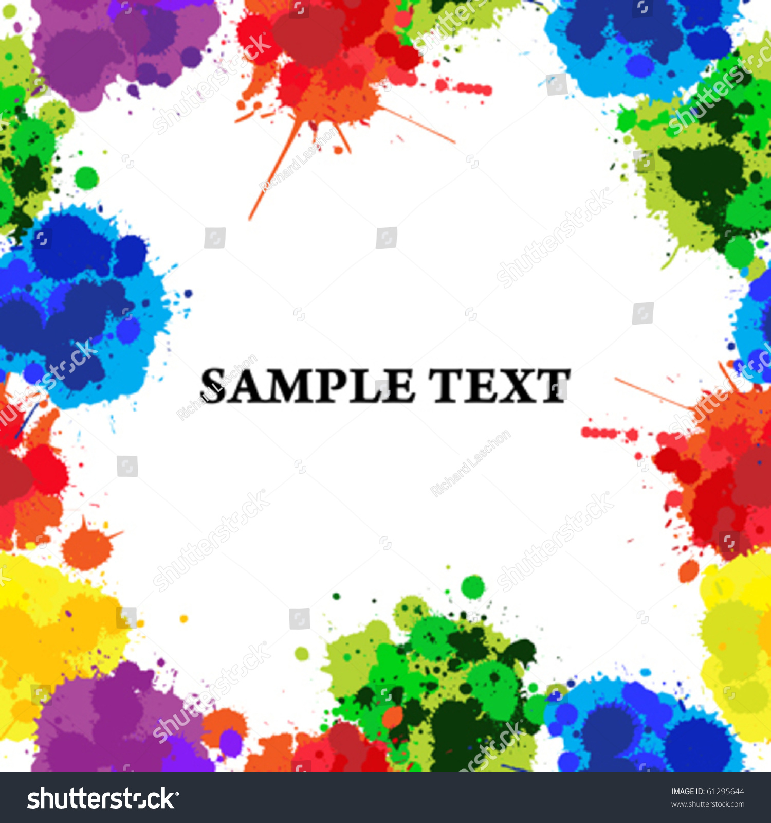Seamless Background With Color Ink Spots, Frame For Text