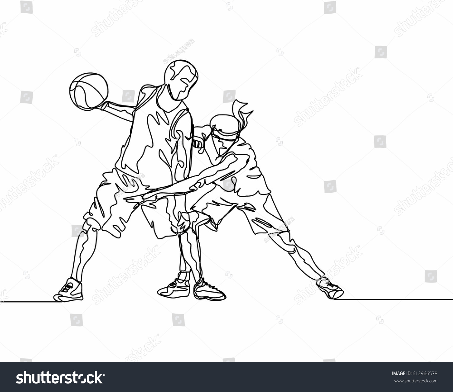 Line Drawing Basketball : Continuous line drawing basketball player stock vector