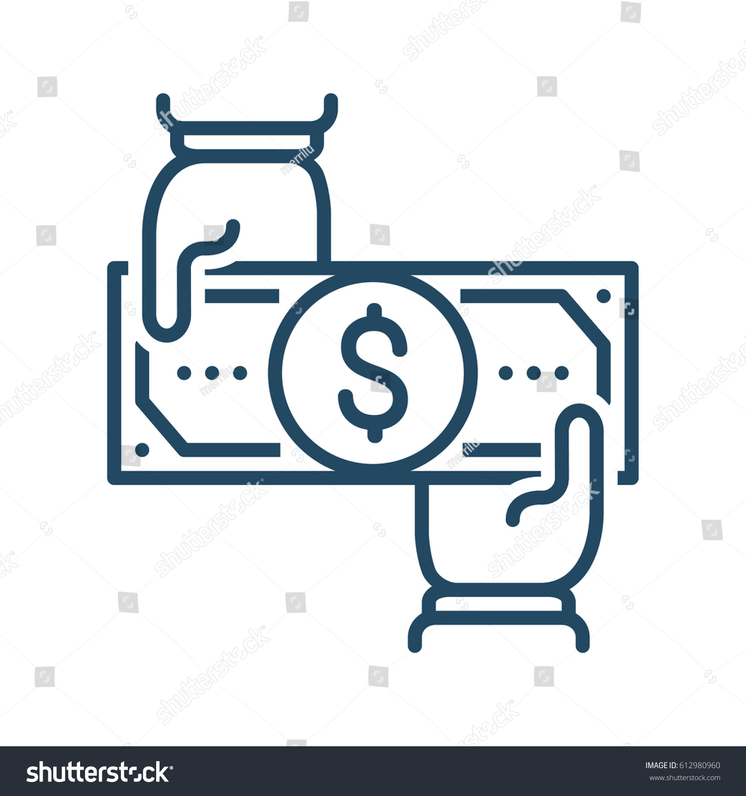 Two human hands holding dollar bill stock vector 612980960 two human hands holding dollar bill vector icon meaning transfer money buycottarizona Choice Image