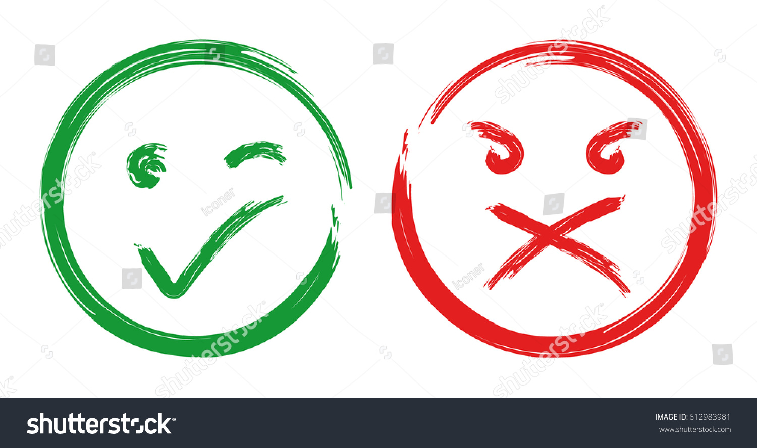 Green checkmark OK, true and red NO, false smiley icons on a white  background