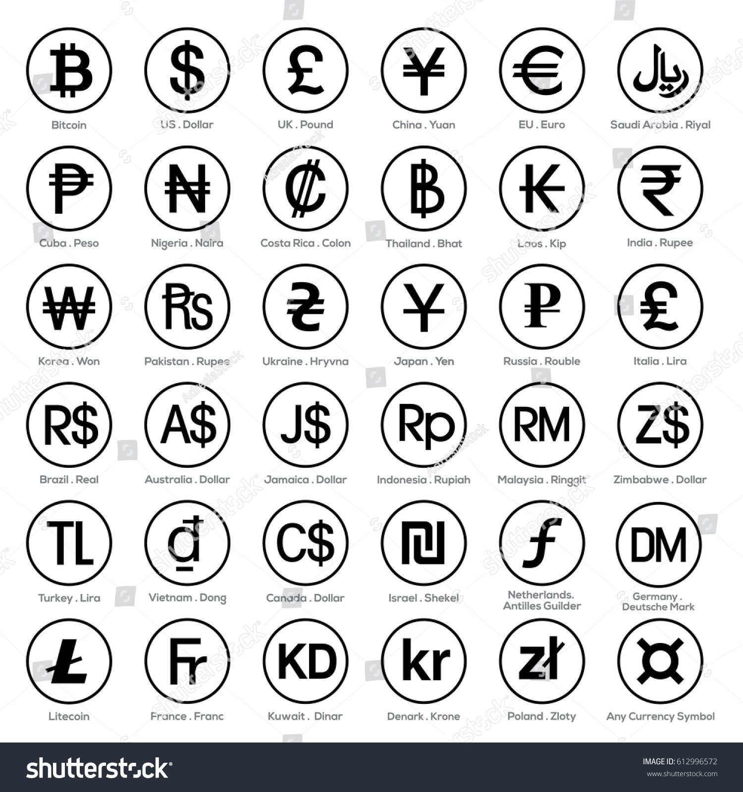 Currency Symbol Icon Sets Stock Vector Royalty Free 612996572