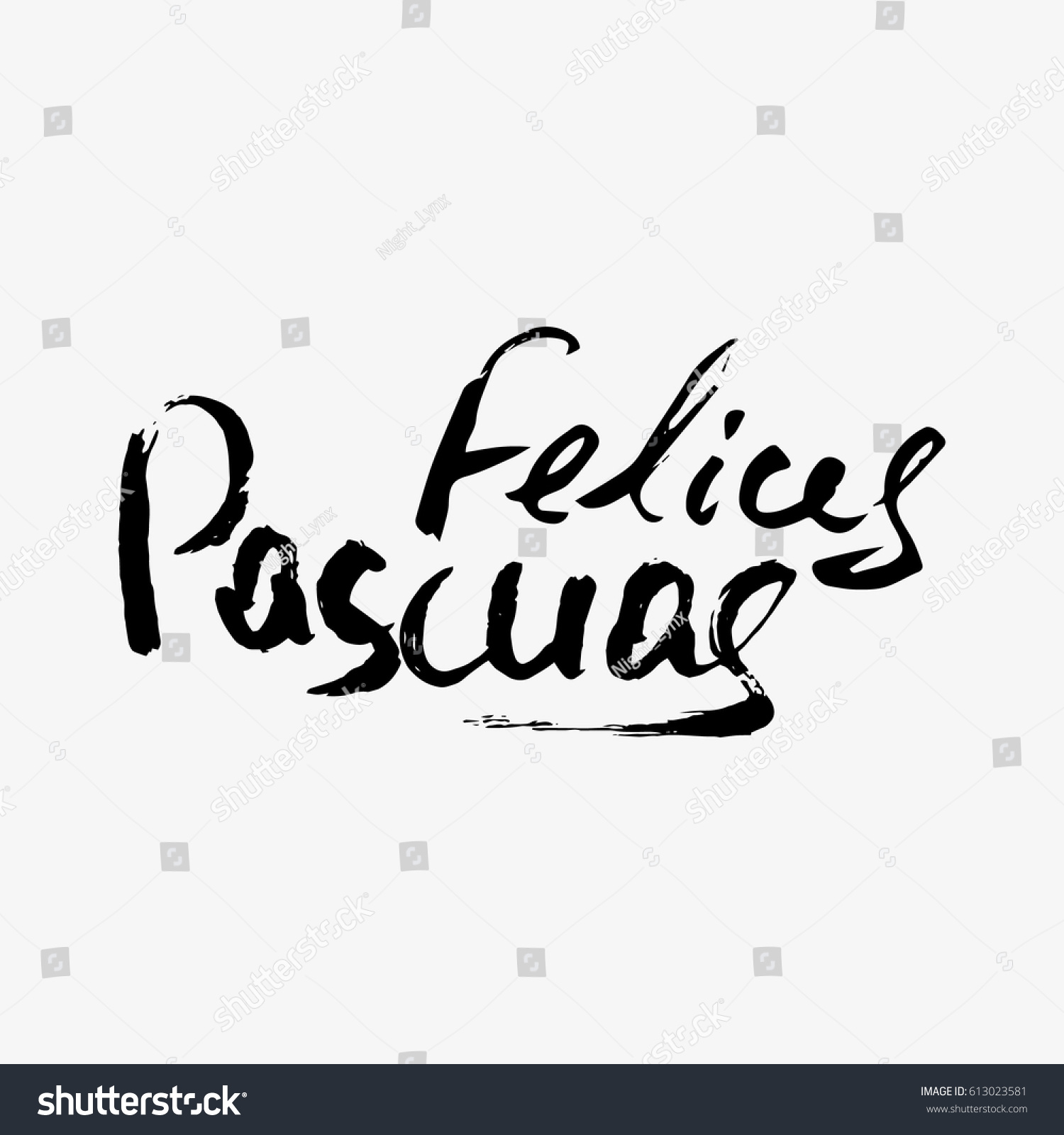Happy Easter Spanish Modern Calligraphy Greeting Stock Vector