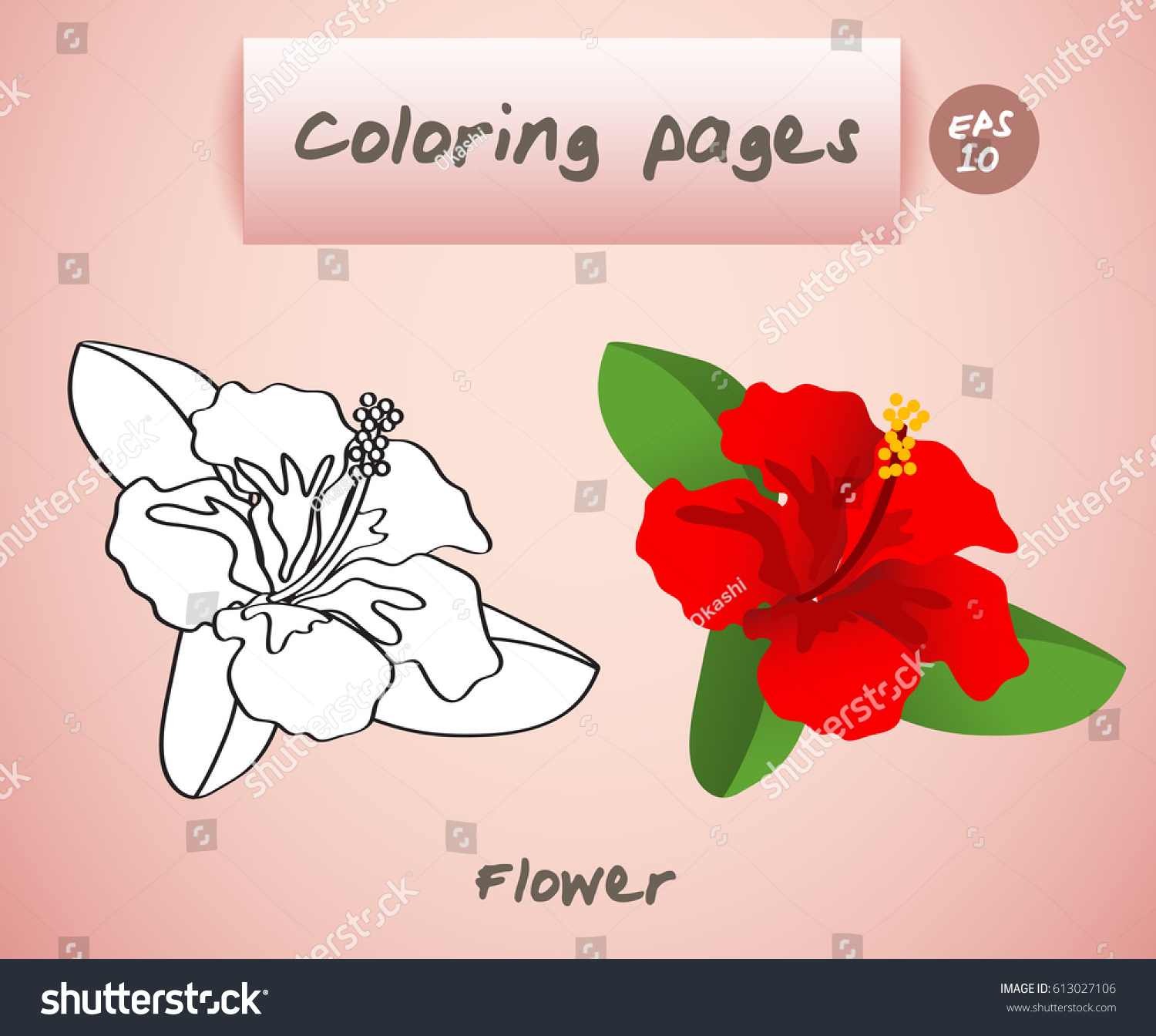 Coloring Book Pages Kids Flower Vector Stock Vector HD (Royalty Free ...
