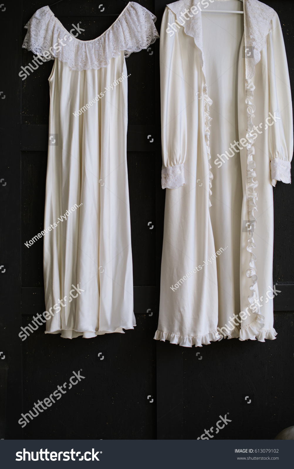 Vintage Dressing Gown On Black Background Stock Photo (Download Now ...