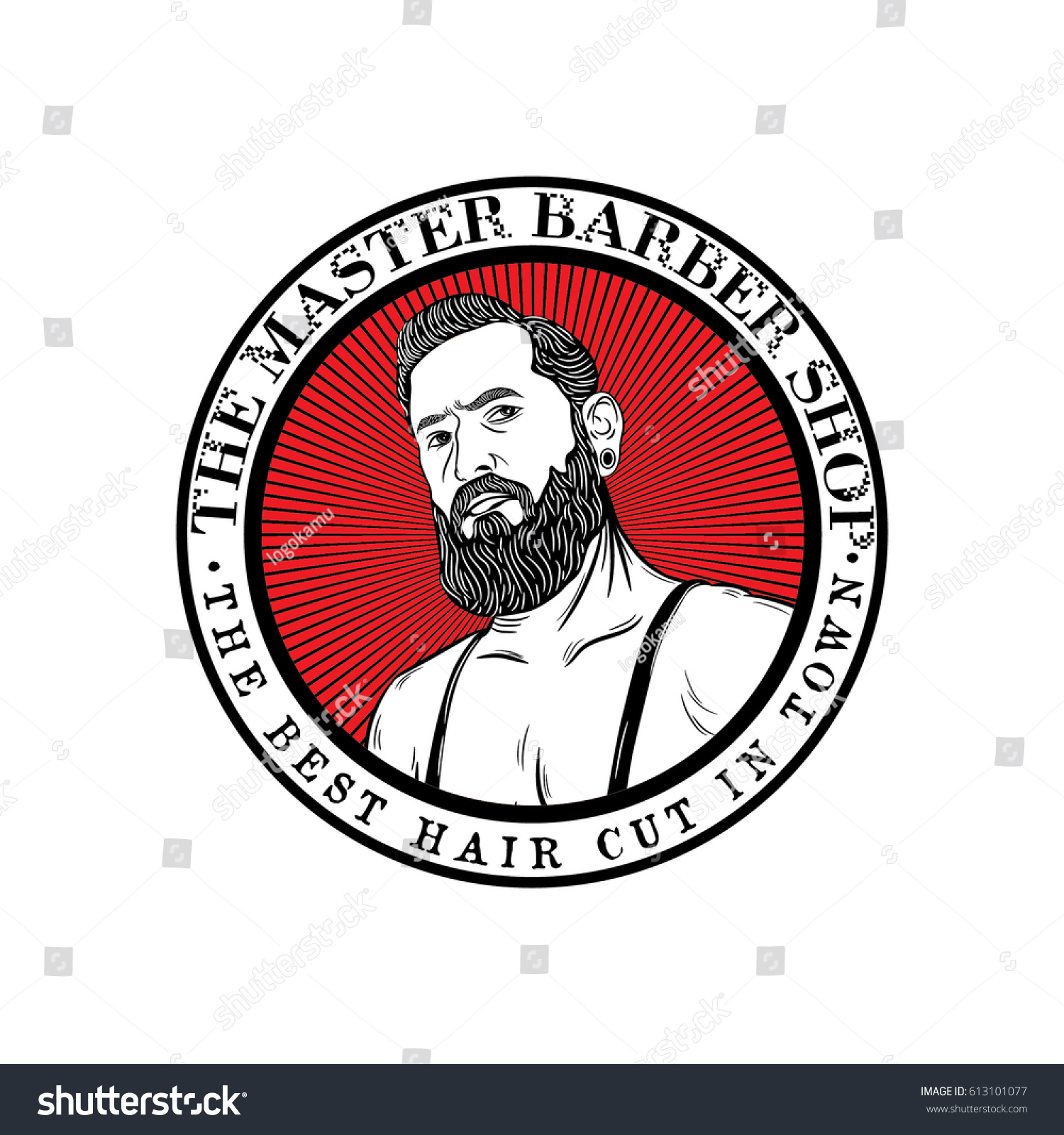 Clip art vector of vintage barber shop logo graphics and icon vector - Barber Shop Logo With Man Icon Vector Isolated