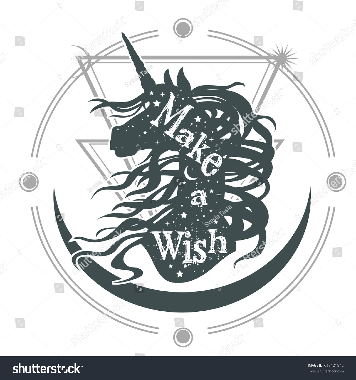 Magic Unicorn Silhouette Inspirational Quote Make Stock Vector