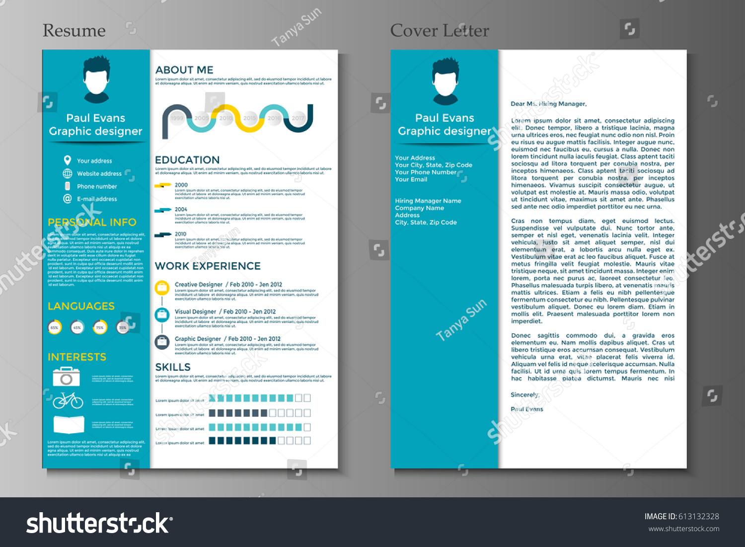 Resume And Cover Letter Collection. Modern CV Set With Infographics  Elements. Awesome For Job