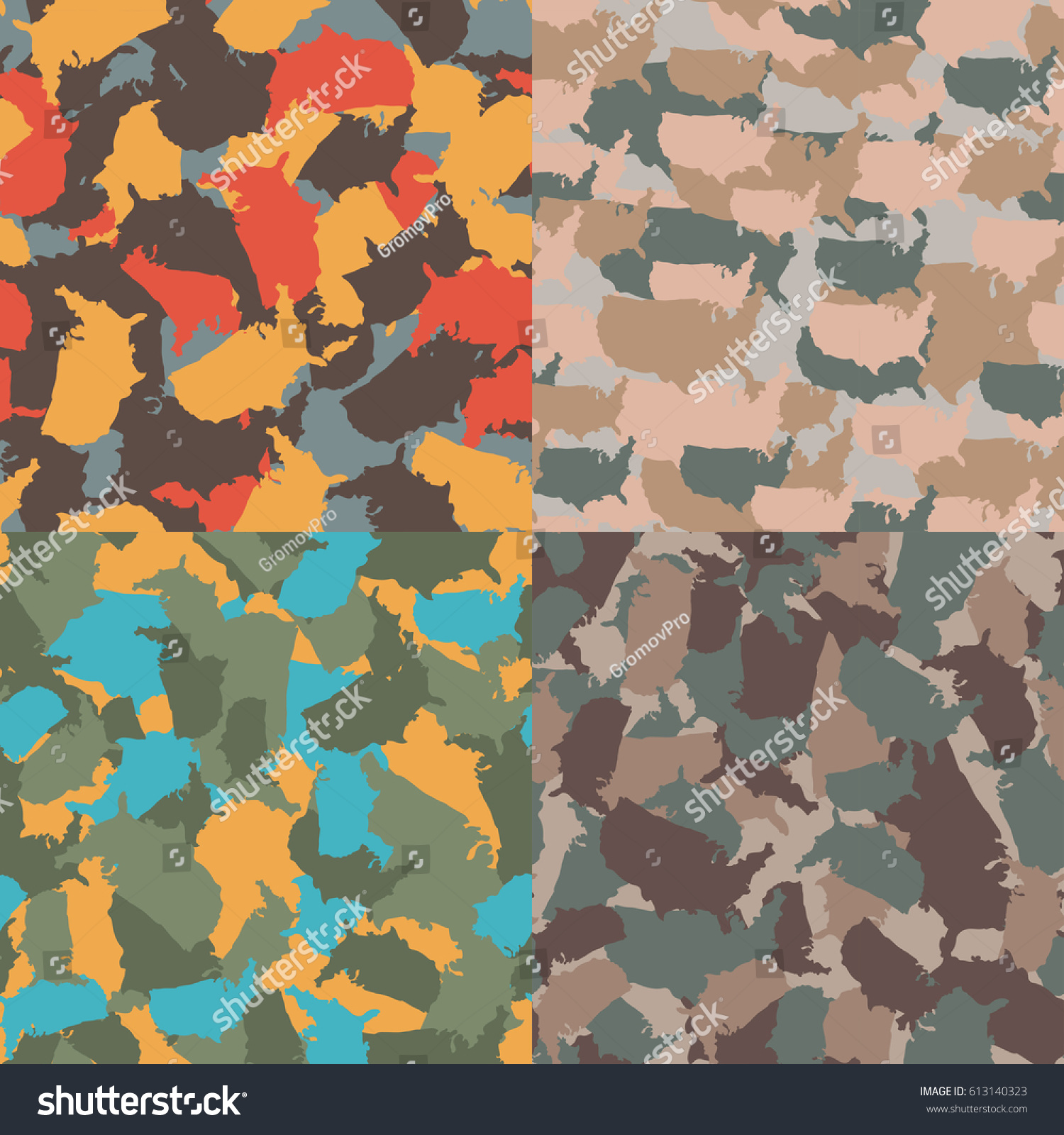Set Of USA Shape Camo Seamless Pattern Colorful America Urban Camouflage Vector Fabric Textile