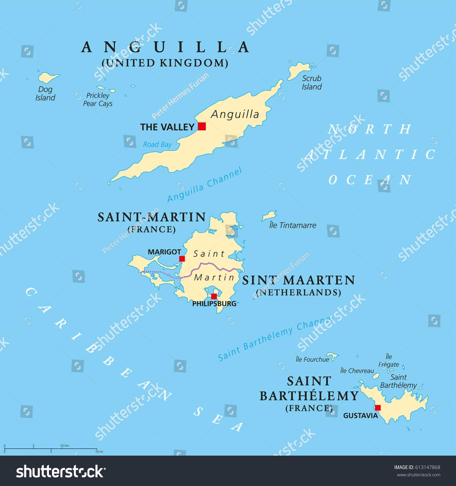 Anguilla Saint Martin Saint Barthelemy Political Stock Vector - Saint barthelemy map