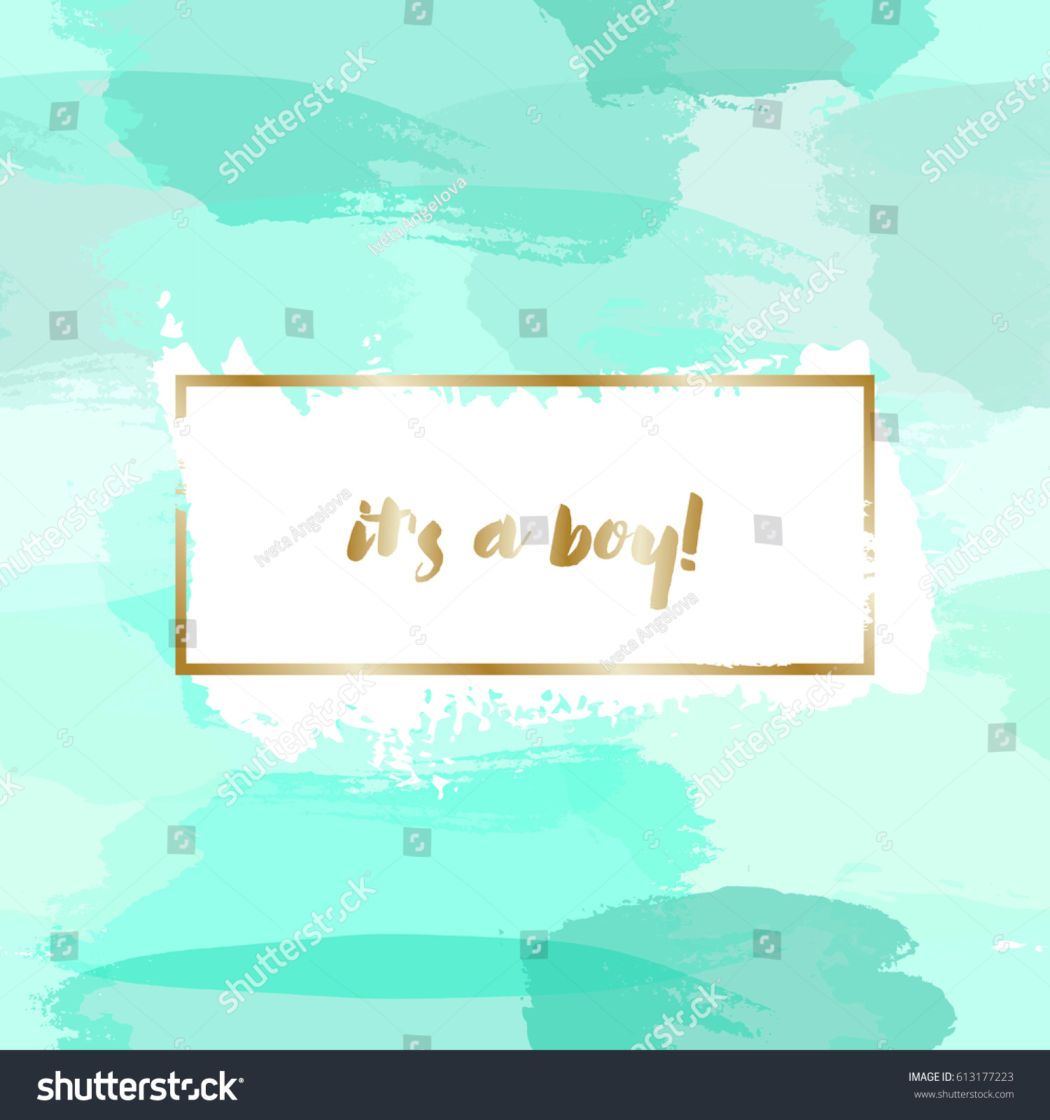 Baby Boy Birth Announcementbaby Shower Card Stock Vector