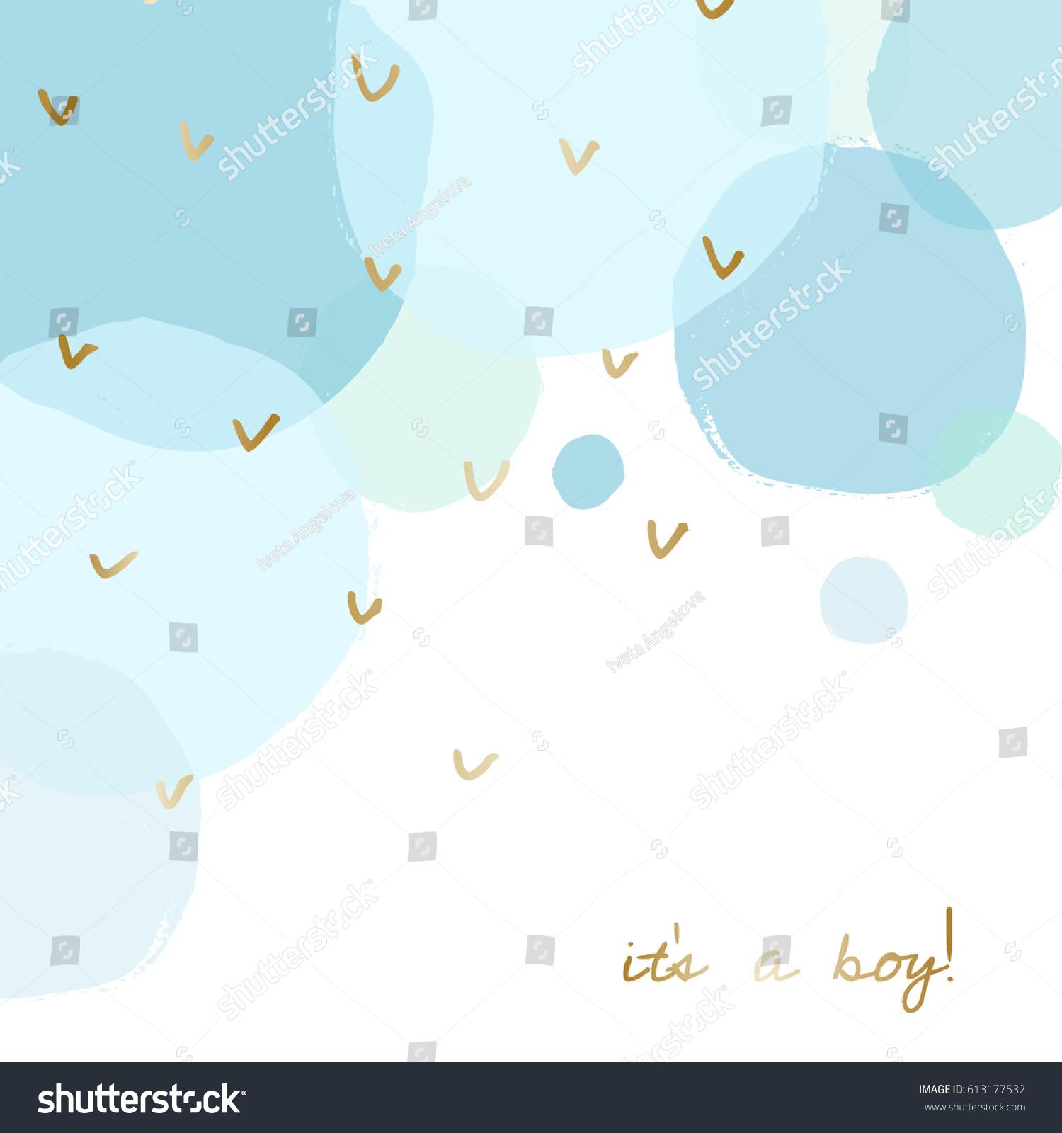 Baby Boy Birth Announcementbaby Shower Card Stock Vector