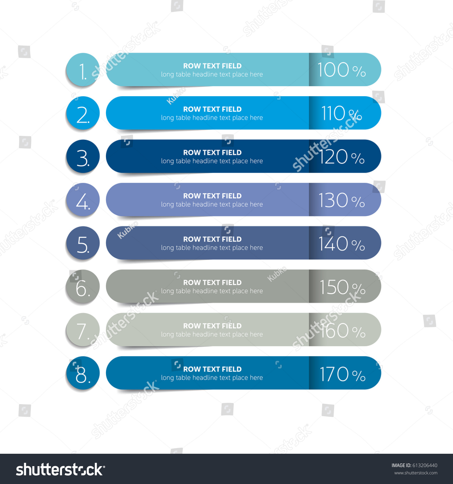 Table schedule design template 8 row stock vector for Table design template