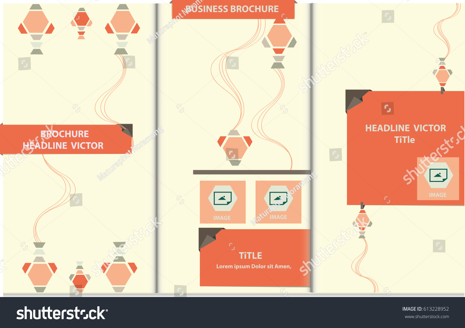 Proportionally A4 Size Vector Template Trifold Stock Vector (Royalty