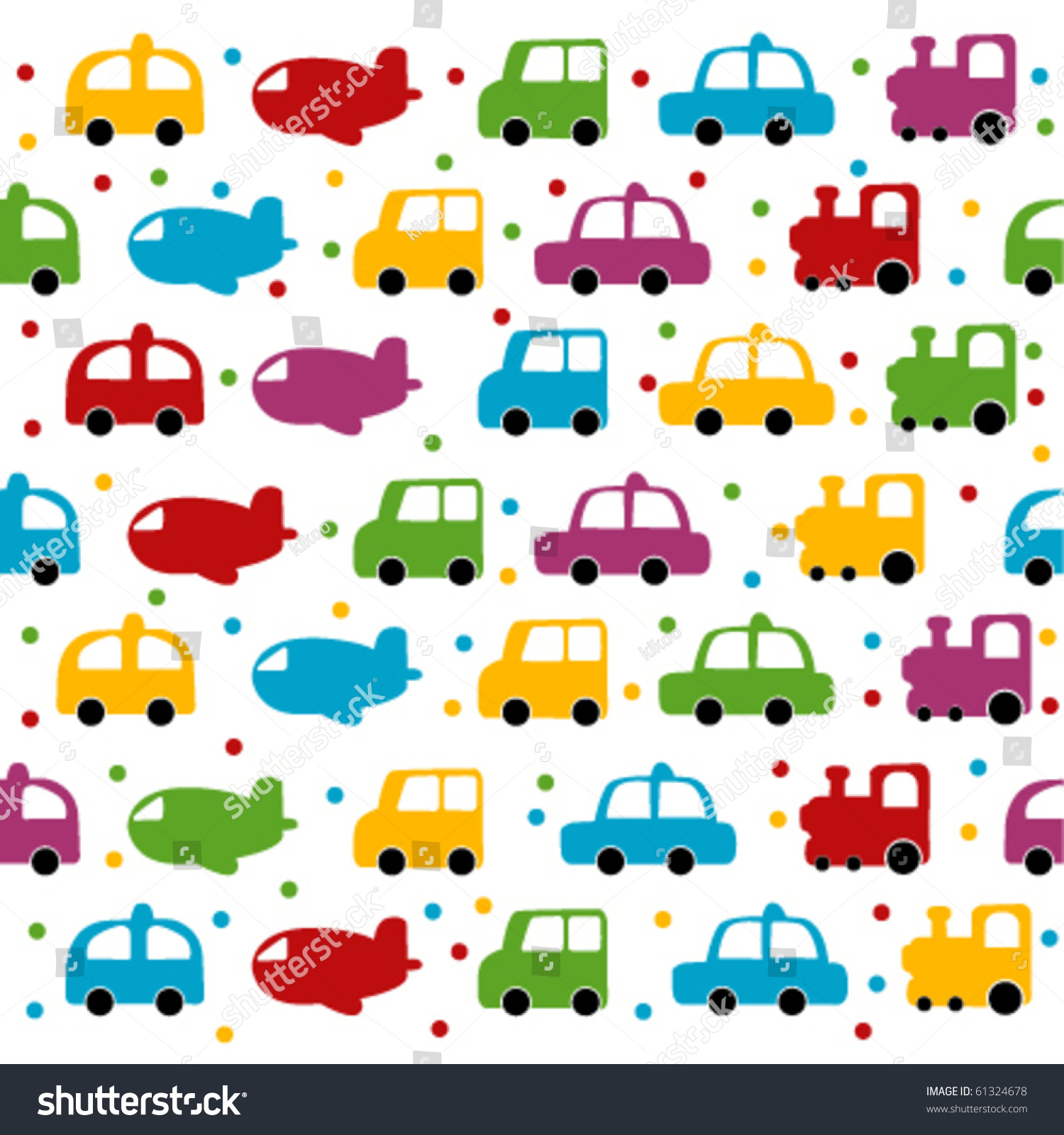 Boy Toys Background : Seamless toy car plane background baby stock vector